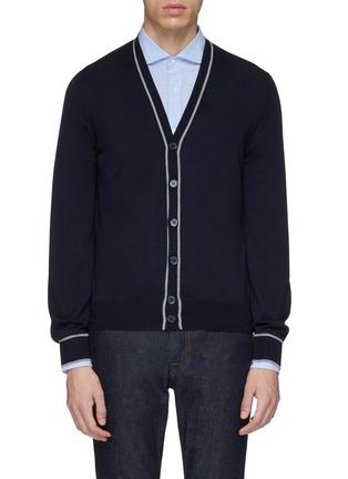 Main View - Click To Enlarge - Brunello Cucinelli - Stripe border virgin wool-cashmere cardigan