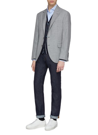 Figure View - Click To Enlarge - Brunello Cucinelli - Stripe border virgin wool-cashmere cardigan
