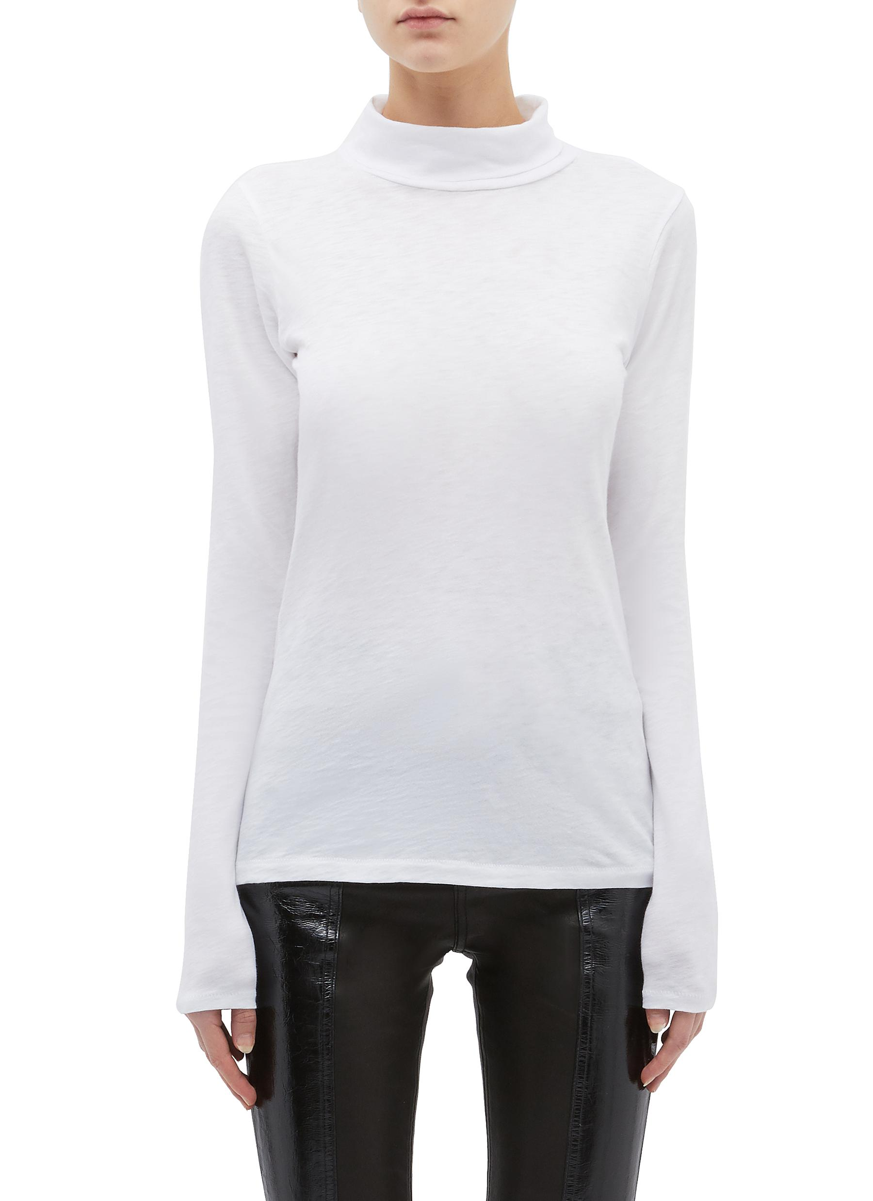 Pima cotton long sleeve turtleneck T-shirt by Rag & Bone/Jean