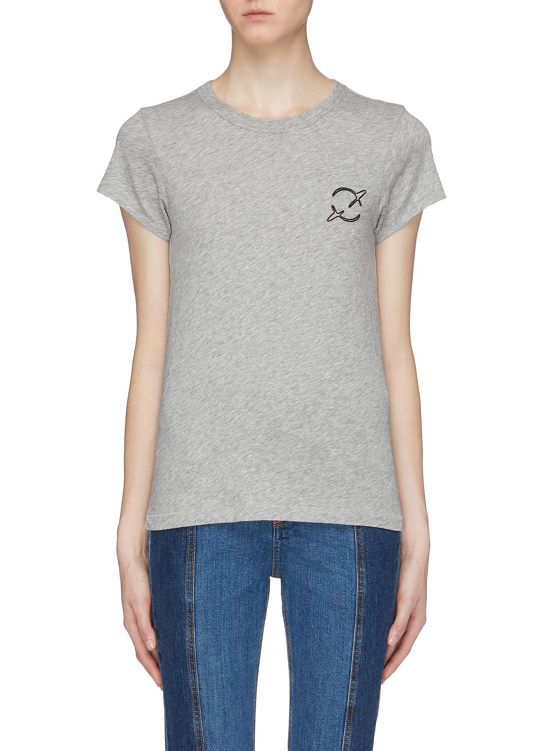 Rag Bonejean Planet Embroidered Pima Cotton Slub Jersey T Shirt