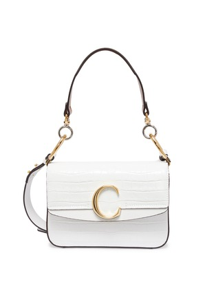 Main View - Click To Enlarge - CHLOÉ - 'Chloé C' small croc embossed leather double carry bag