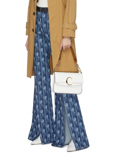 Chloé 'C Double' small croc embossed leather shoulder bag