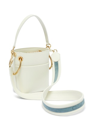 Detail View - Click To Enlarge - CHLOÉ - 'Roy' logo stripe print mini leather bucket bag