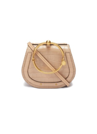 Main View - Click To Enlarge - Chloé - 'Nile' small bracelet handle croc embossed leather crossbody bag