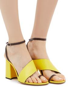 Dries Van Noten Colourblock toe ring snake embossed leather sandals