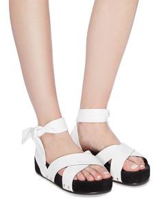 Stella Luna Ankle tie leather platform sandals