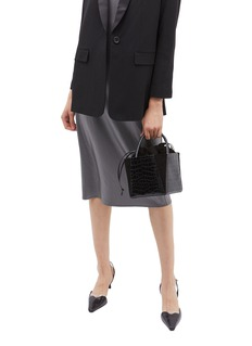 Trademark 'Dorthea' suede panel croc embossed leather top handle bag