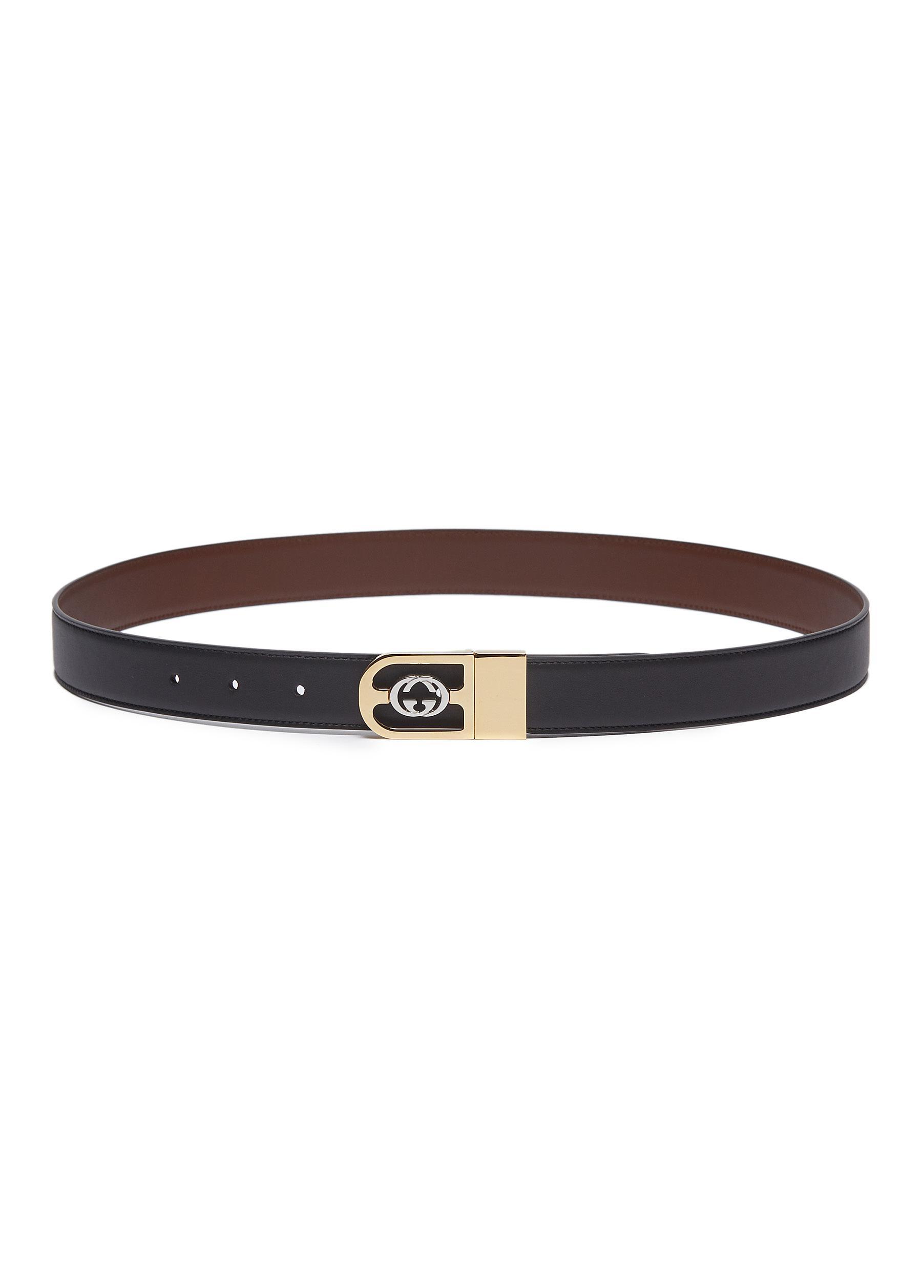 c816dd8f87d GUCCI   Reversible GG logo buckle leather belt   Men   Lane Crawford