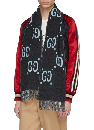 Figure View - Click To Enlarge - Gucci - GG logo intarsia wool scarf