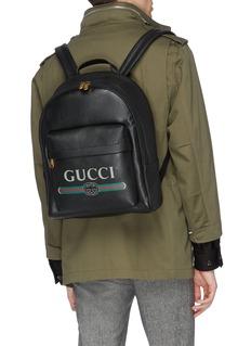 Gucci Logo print leather backpack