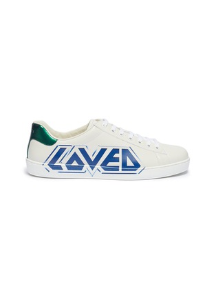 Main View - Click To Enlarge - GUCCI - New Ace' slogan print leather sneakers
