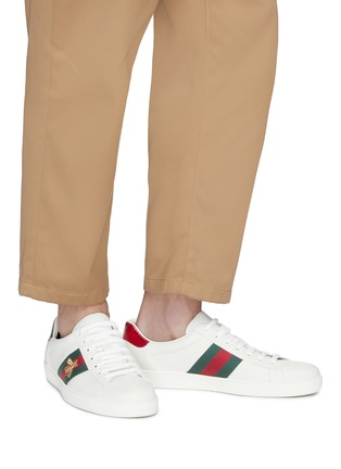 Figure View - Click To Enlarge - GUCCI - 'Ace' bee embroidered Web stripe leather sneakers