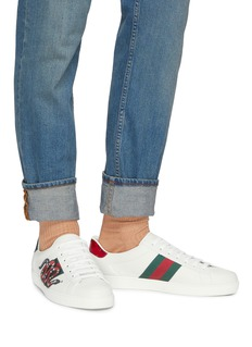 Gucci 'Ace' snake embroidered Web stripe leather sneakers