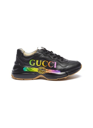 7c5432680344 Gucci  Rhyton  iridescent logo print chunky leather sneakers