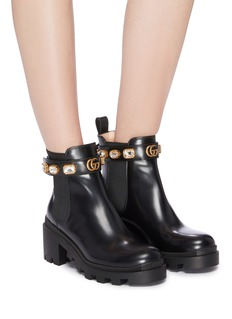 Gucci 'Trip' jewelled GG logo ankle strap leather Chelsea boots
