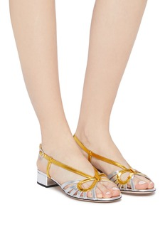 Gucci 'Zephyra' cutout bow caged metallic leather slingback sandals
