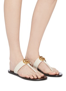 Gucci 'Flat Marmont' GG logo leather thong sandals