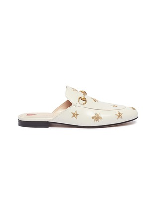 46ee932a082 Gucci  Princetown  star bee embroidered leather loafer slides