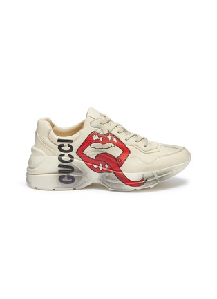316cc5a65357 Gucci  Rhyton  logo mouth print distressed leather chunky sneakers
