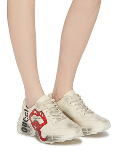 Gucci 'Rhyton' logo mouth print distressed leather chunky sneakers
