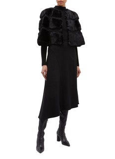KRUF Lace trim cropped mink fur cape