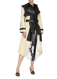 Cédric Charlier Belted waterfall lapel colourblock leather trench coat
