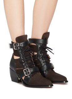 Chloé 'Rylee' cutout suede lace-up ankle boots