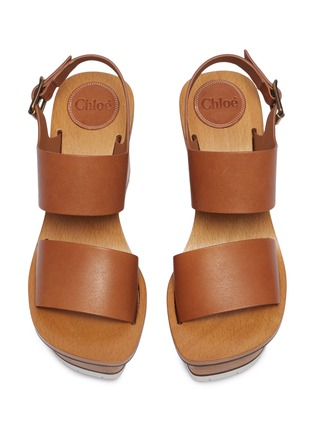 Detail View - Click To Enlarge - Chloé - Buckle leather wooden clog wedge sandals