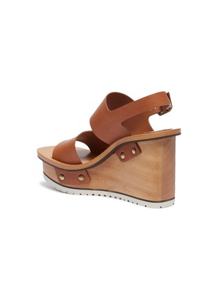 - Chloé - Buckle leather wooden clog wedge sandals