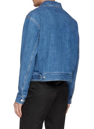 Back View - Click To Enlarge - PRADA - Logo print zip front denim jacket