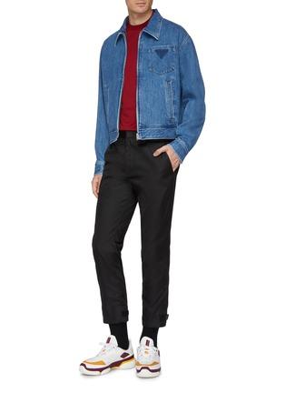 Figure View - Click To Enlarge - PRADA - Logo print zip front denim jacket