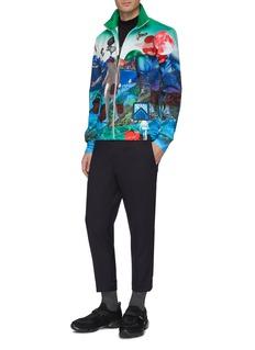 Prada Panorama print logo patch high neck zip jacket