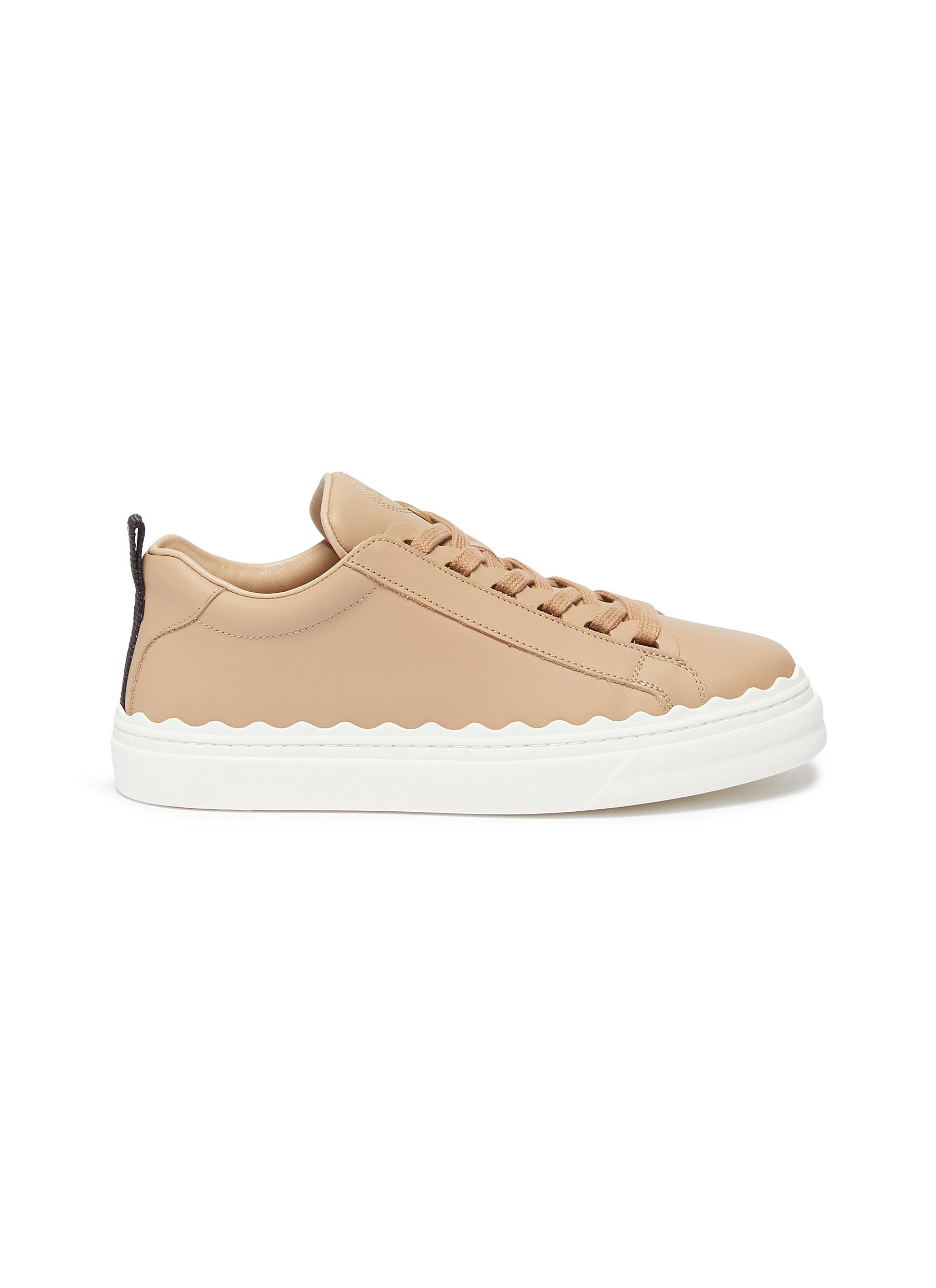 Lauren scalloped midsole leather sneakers by Chloé