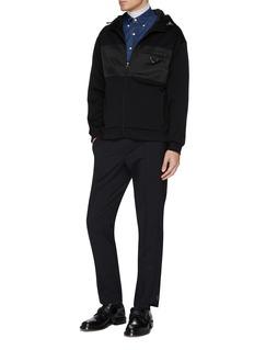 Prada Logo plate nylon panel zip hoodie