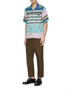 Prada Mix stripe short sleeve shirt