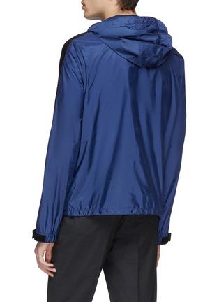Back View - Click To Enlarge - PRADA - Stripe sleeve hooded windbreaker jacket
