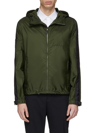 Main View - Click To Enlarge - Prada - Stripe sleeve hooded windbreaker jacket