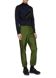 Prada Stripe outseam crinkled jogging pants