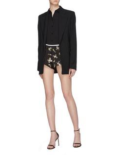 miu miu Floral embellished satin shorts