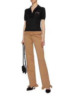 Prada Ruffle cuff belted neoprene pants