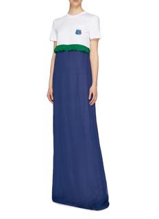 Prada Textured logo appliqué ruffle waist colourblock maxi dress