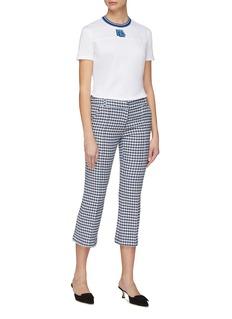 Prada Logo appliqué stripe knit collar T-shirt