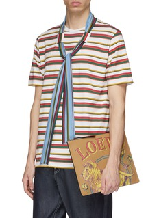 LOEWE 'Lion' print large leather pouch