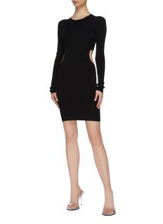 alexanderwang.t Cutout waist rib knit bodycon mini dress