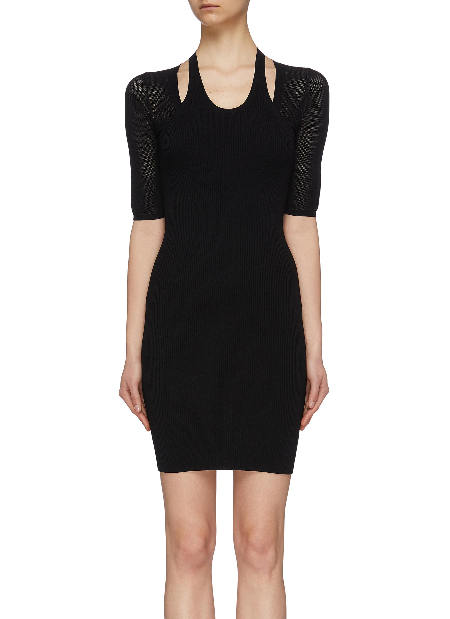 a9f87128b76 alexanderwang.t. Mesh sleeve cutout shoulder knit dress