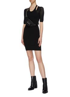 alexanderwang.t Mesh sleeve cutout shoulder knit dress