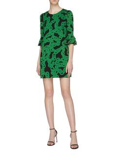 Diane von Furstenberg 'Louise' chain link print ruffle cuff dress