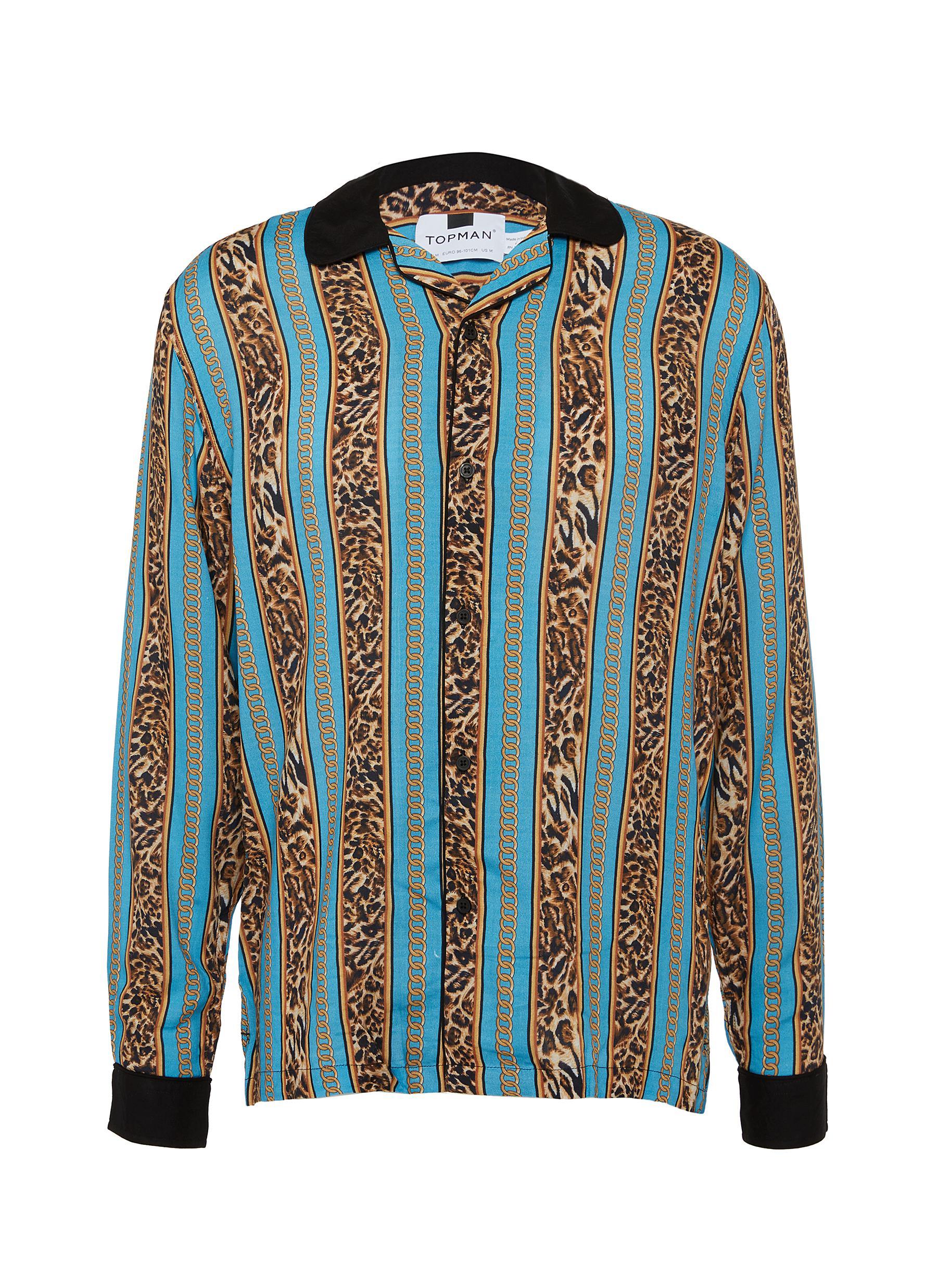 c537ea1fae2 Main View - Click To Enlarge - Topman - Revere collar leopard chain stripe print  shirt