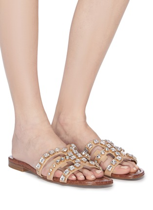 Figure View - Click To Enlarge - SAM EDELMAN - 'Barlow' strass faux leather slide sandals