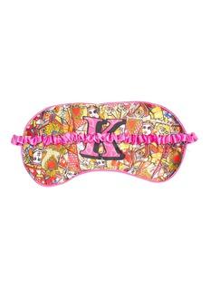 Jessica Russell Flint 'K' alphabet graphic print silk eye mask
